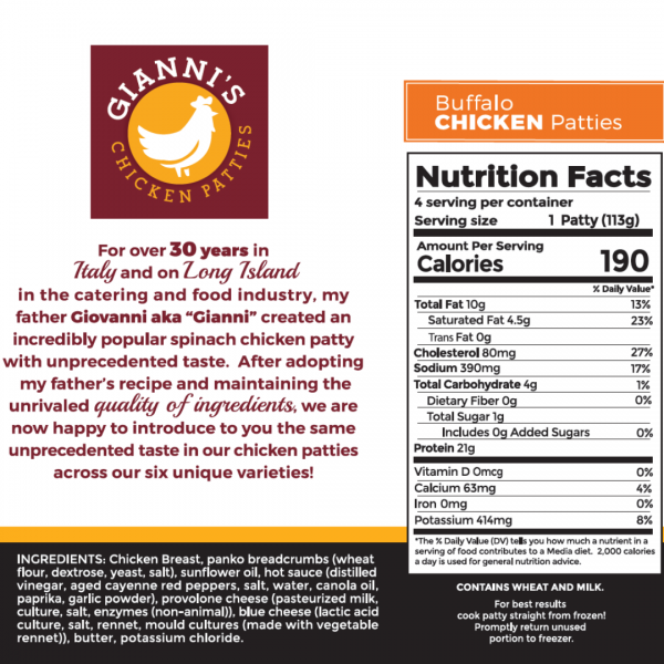 Buffalo Chicken Burger Nutrition Information