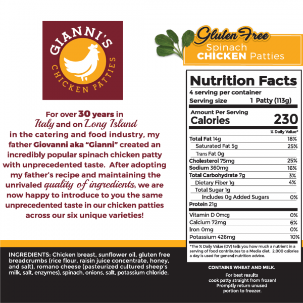 Gluten Free Spinach Chicken Burger Nutrition Information