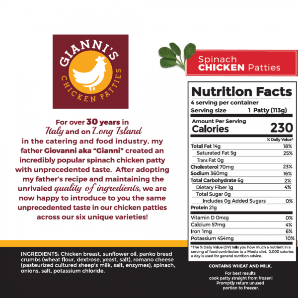 Spinach Chicken Burger Nutrition Info