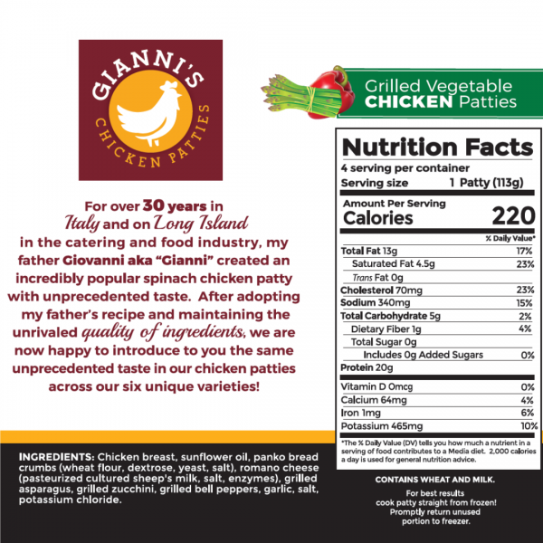 Grilled vegetable chicken burger nutrition information
