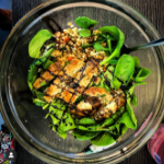 spinach-couscous-chicken-burger-salad